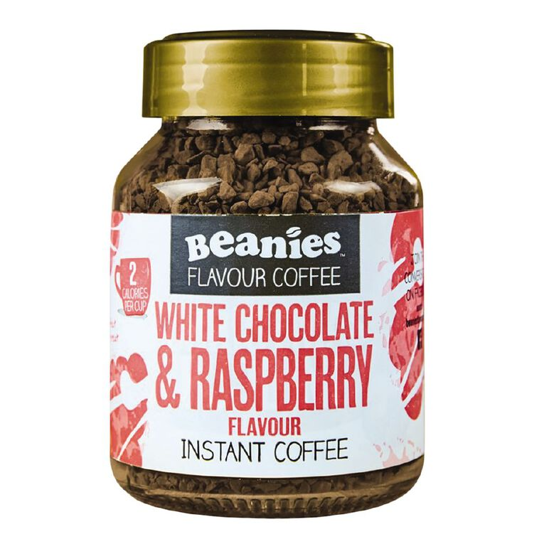 Beanies White Chocolate & Raspberry Flavour Instant Coffee 50g, , hi-res