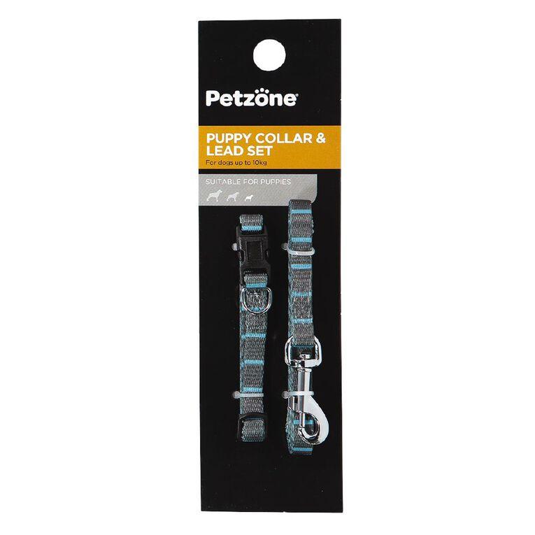 Petzone Puppy Lead Set Blue Stripe, , hi-res