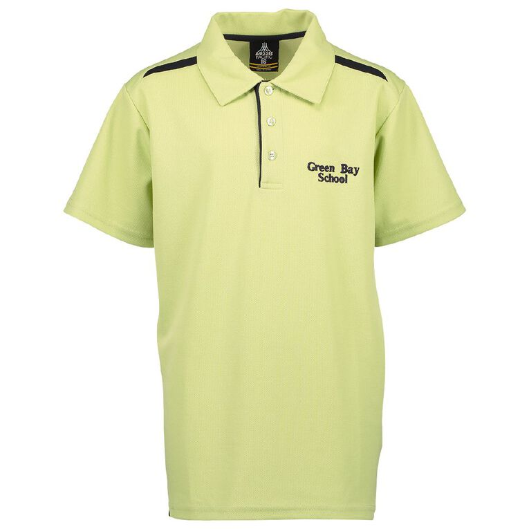 Schooltex Green Bay Intermediate Short Sleeve Polo with Embroidery, Sage/Navy, hi-res