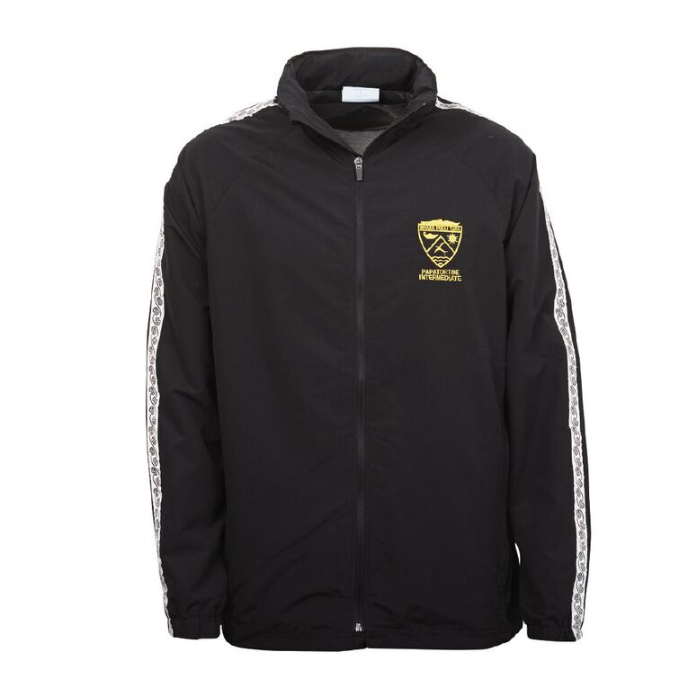 Schooltex Papatoetoe Intermediate Track Jacket with Embroidery, Black, hi-res