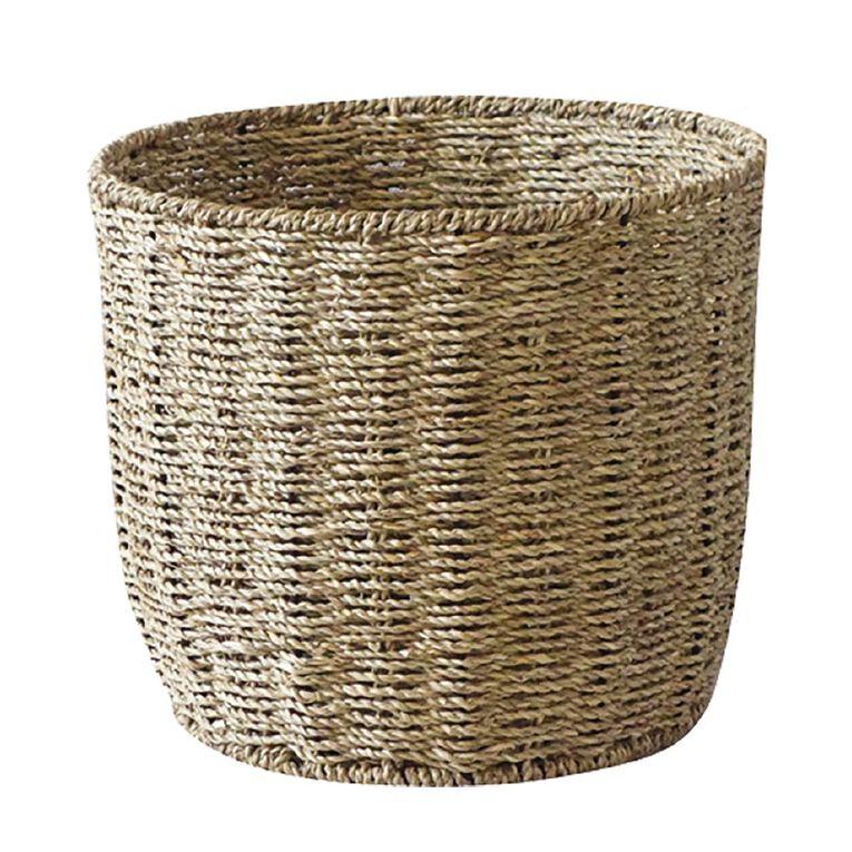 Living & Co Round Seagrass Basket Natural Medium, , hi-res