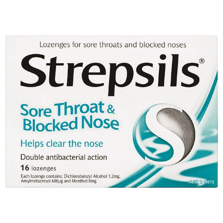 Strepsils Sore Throat and Blocked Nose Lozenges 16s, , hi-res