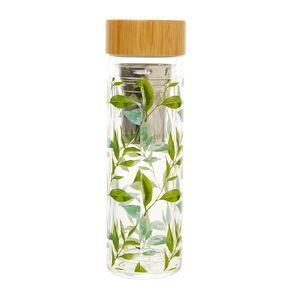 Living & Co Printed Glass Flask Tea Leaf