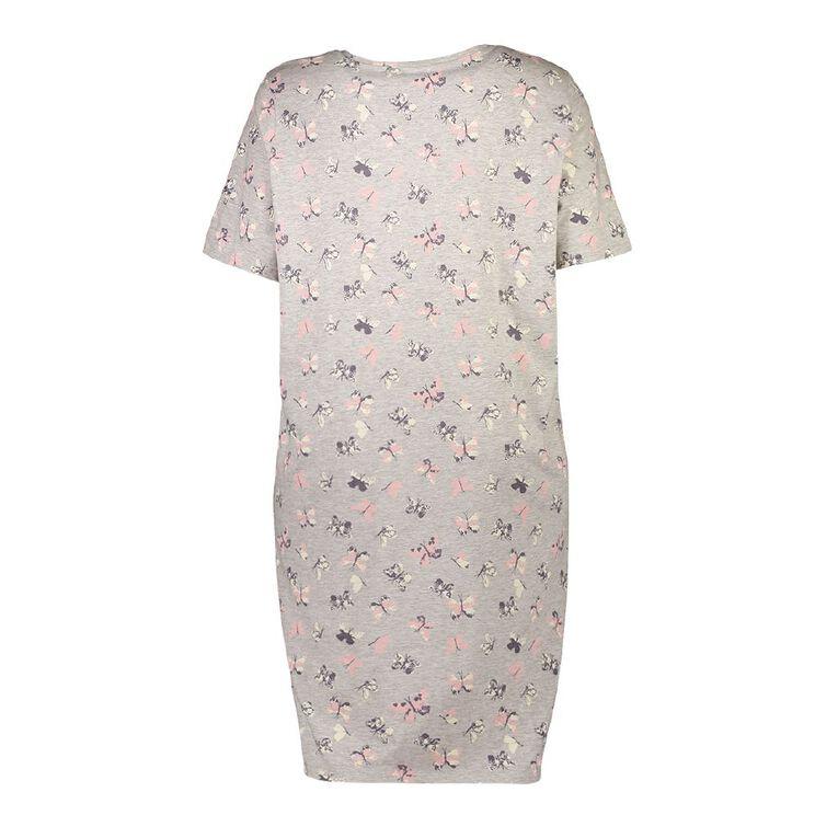 H&H Cosy Curvy Women's Short Sleeves Knit Nightie, Grey Marle, hi-res