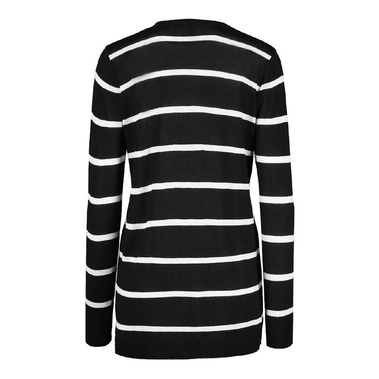 H&H Light Cardigan, Black/White, hi-res