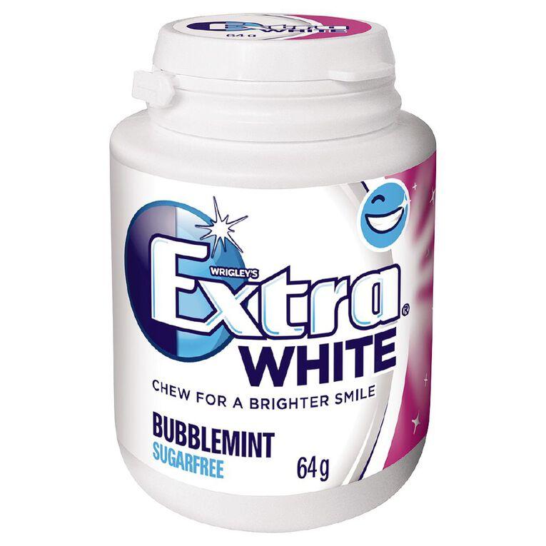 Extra White Bubblemint Chewing Gum SF Bottle 46 Piece 64g, , hi-res
