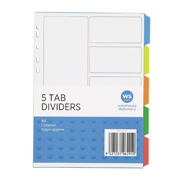 WS PP Dividers 5 Tab Multi-Coloured, , hi-res