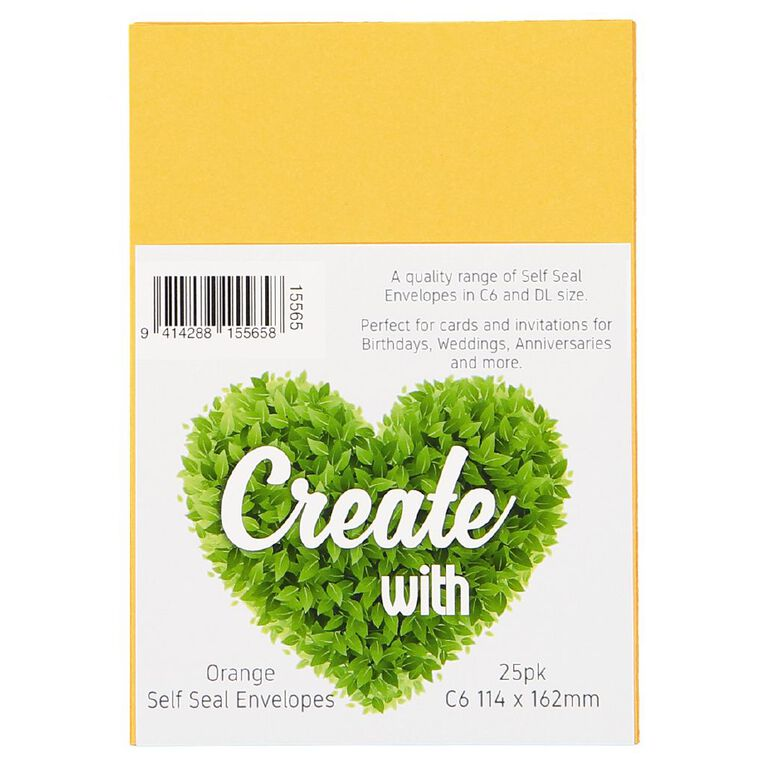 Create With C6 Envelopes 25 Pack Orange, , hi-res