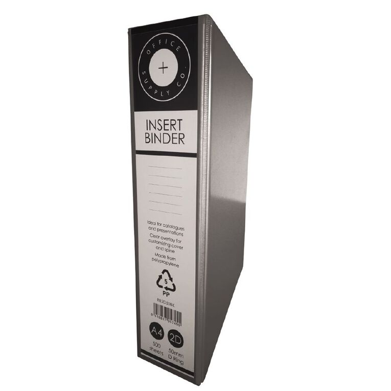 Office Supply Co 2D 50mm Ringbinder Black A4, , hi-res