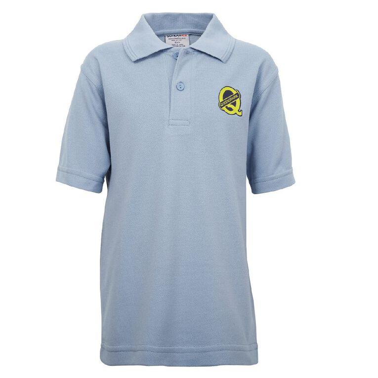 Schooltex Queenspark Short Sleeve Polo with Transfer, Sky Blue, hi-res