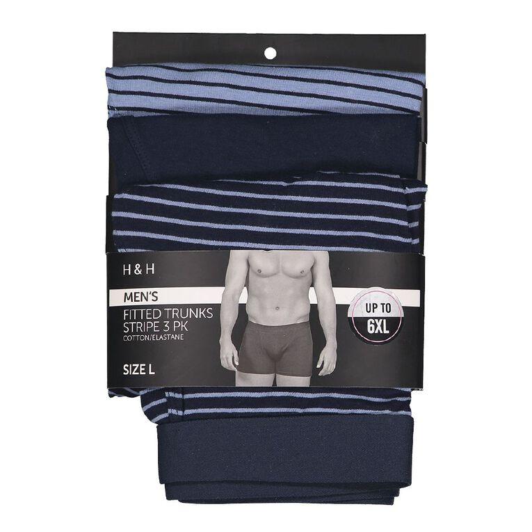 H&H Men's Stripe Trunks 3 Pack, Navy, hi-res