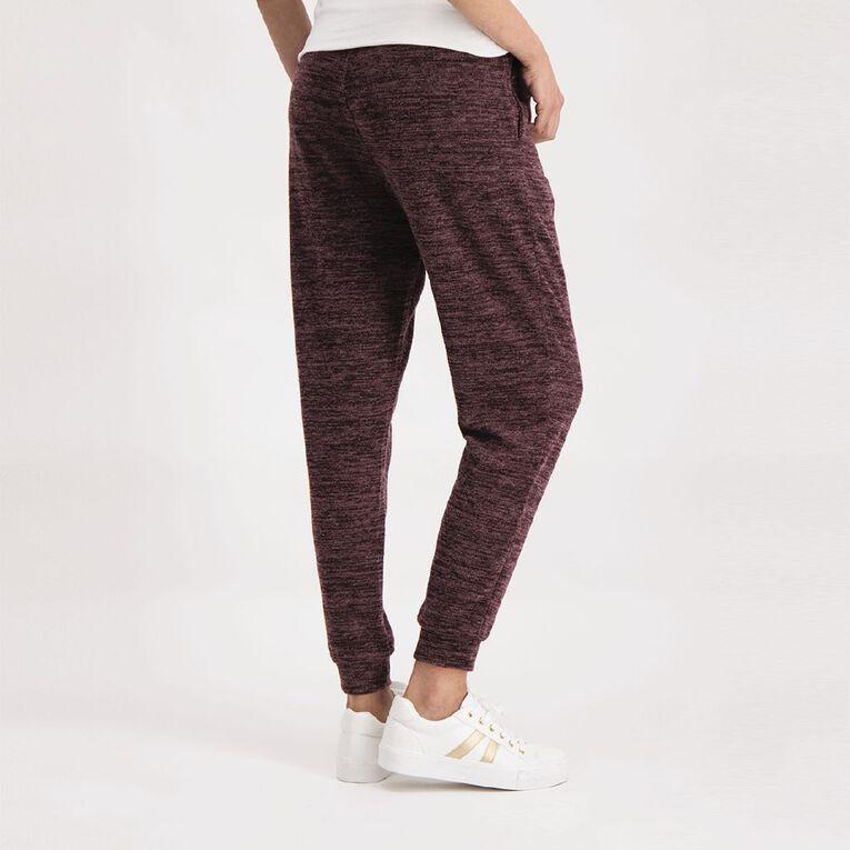 H&H Women's Brushed Knit Harem Pants, Purple Dark, hi-res image number null