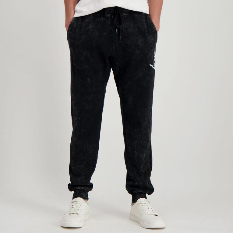 Garage Men's Acid Wash Trackpants, Black, hi-res