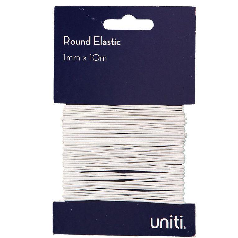 Uniti Elastic Round 1mm x 10m White, , hi-res