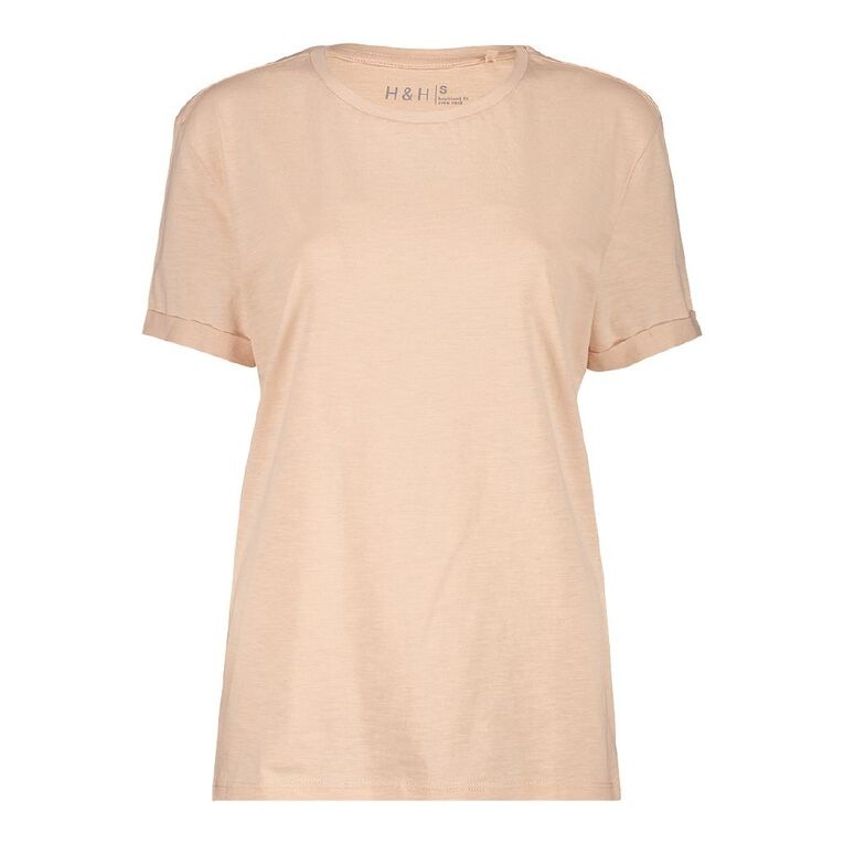 H&H Women's Oversized Roll Sleeve Tee, Pink Light, hi-res
