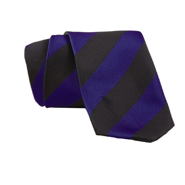 Schooltex Striped Tie, Black/Navy, hi-res