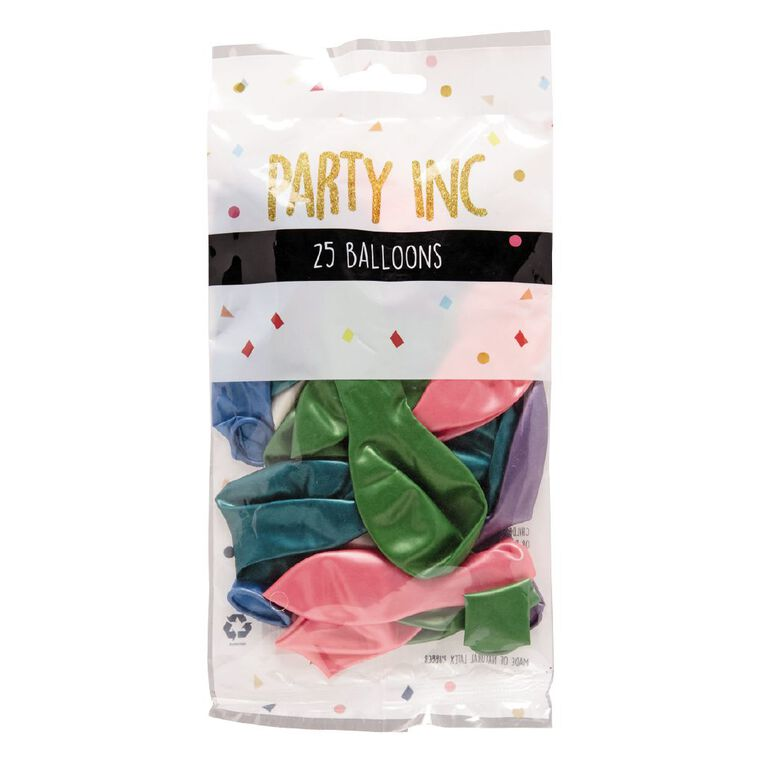 Party Inc Balloons Pearl Colours 25cm 25 Pack, , hi-res