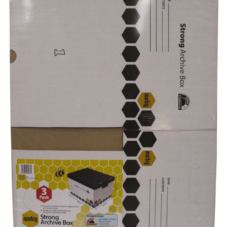 Marbig Archive Strong Boxes 3 Pack Wrapped White, , hi-res