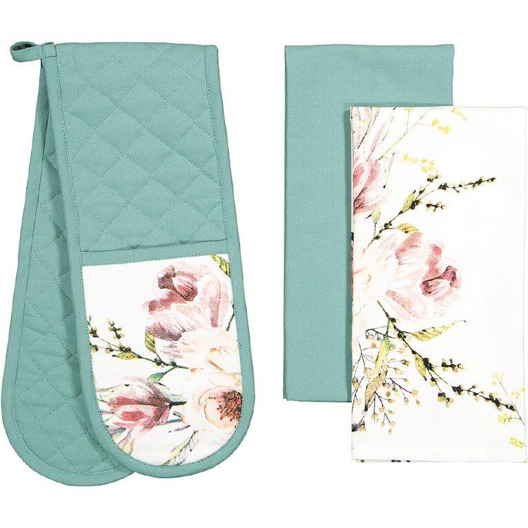 Living & Co Tea Towel & Double Oven Glove Set 3 Piece, , hi-res