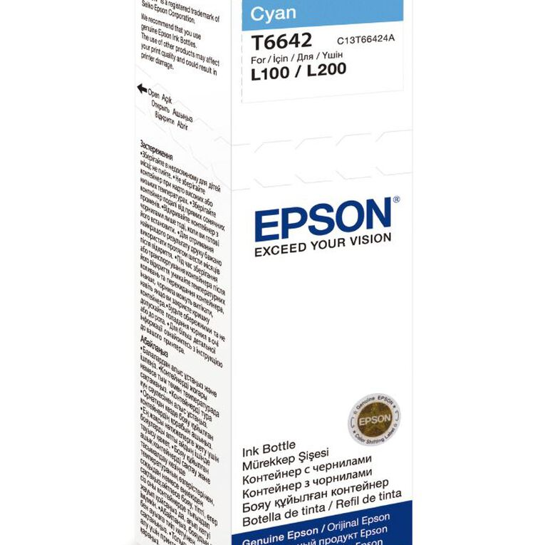 Epson Ink T6642 Cyan 70ml Bottle (7500 Pages), , hi-res