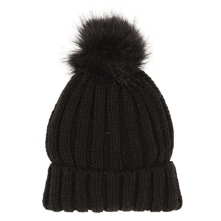 H&H Women's Faux Fur Pom Pom Beanie, Black, hi-res image number null