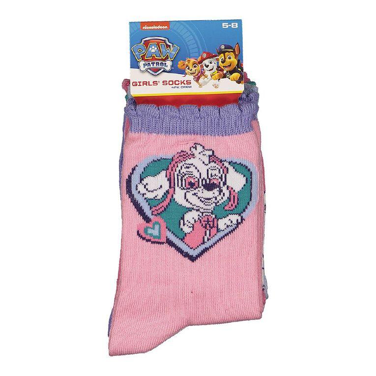 Paw Patrol Girls' Crew Socks 4 Pack, Pink, hi-res