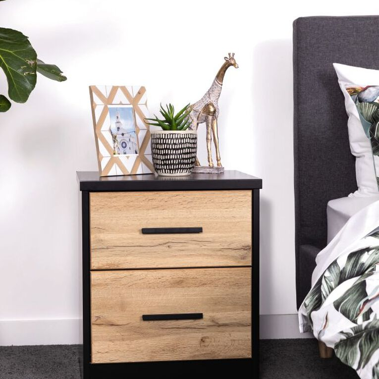 Living & Co Takiwira 2 Drawer Bedside Table Black, , hi-res