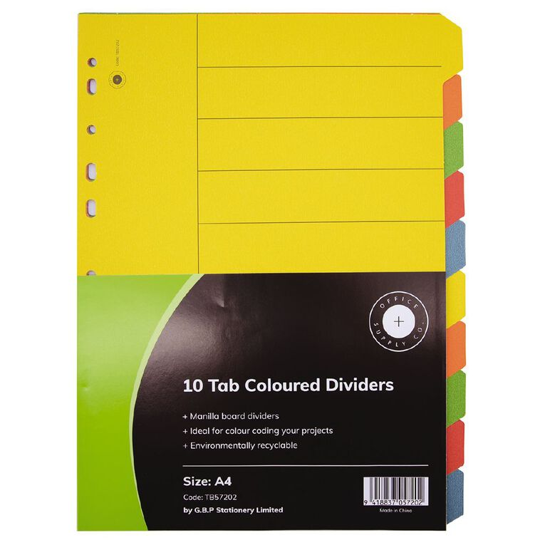 Office Supply Co 10 Tab Coloured Manilla Dividers, , hi-res