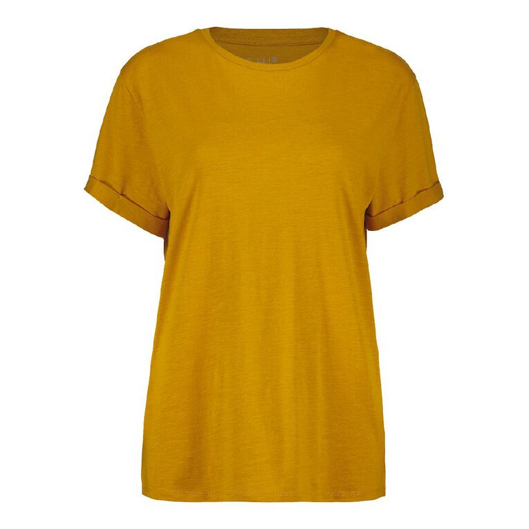H&H Women's Oversized Roll Sleeve Tee, Gold, hi-res