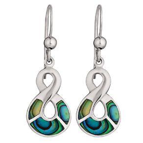 Sterling Silver Paua Twist Earrings 10mm x 15mm