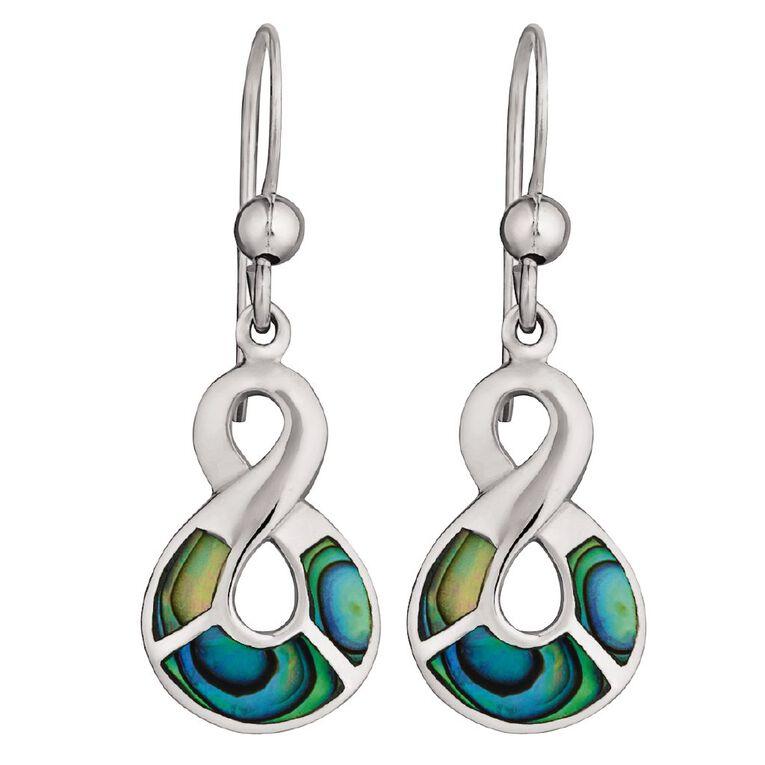 Sterling Silver Paua Twist Earrings 10mm x 15mm, , hi-res