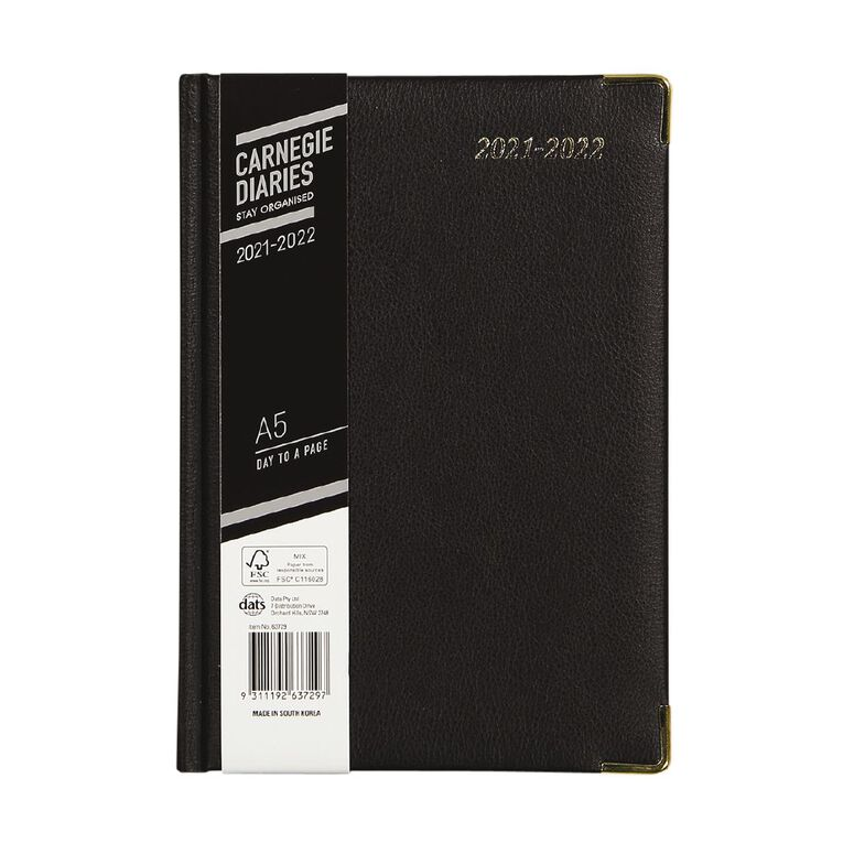 Dats Diary Mid Year 21-22 Day To Page Elite PU Black A5, , hi-res