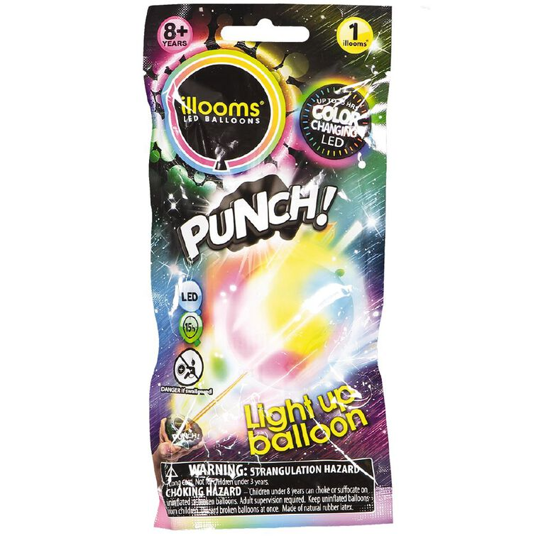 Illooms Punch Colour Changing Light Up Balloon Multi-Coloured, , hi-res
