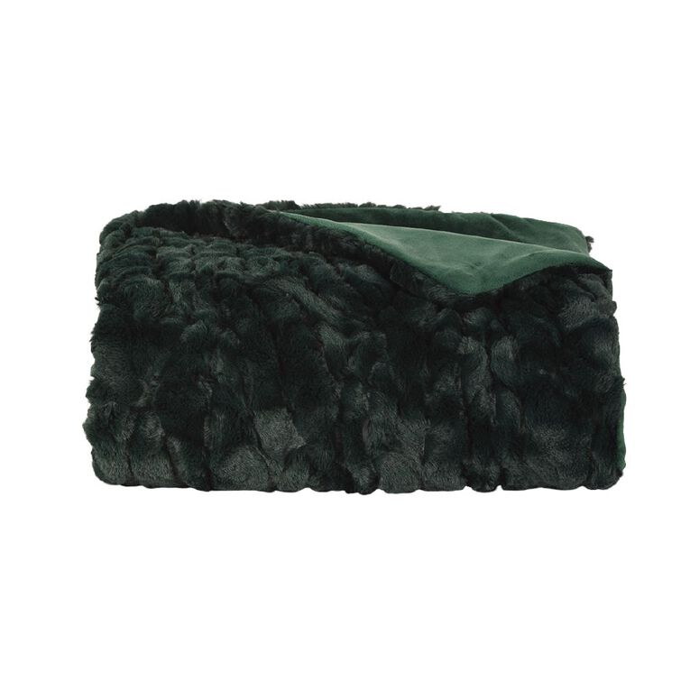 Living & Co Textured Faux Fur Throw Botanical Green 120cm x 140cm, Green, hi-res