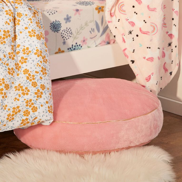 Living & Co Kids Floor Cushion Faux Fur Pink 60cm x 60cm, Pink, hi-res