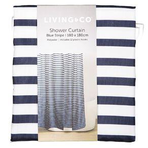Living & Co Shower Curtain Stripe Blue Dark 180cm x 180cm