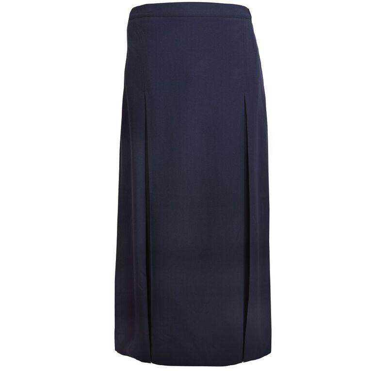 Schooltex Long Double Pleat Skirt, Navy PW, hi-res