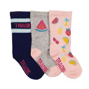 Tradie Girls' Rib Crew Socks 3 Pack