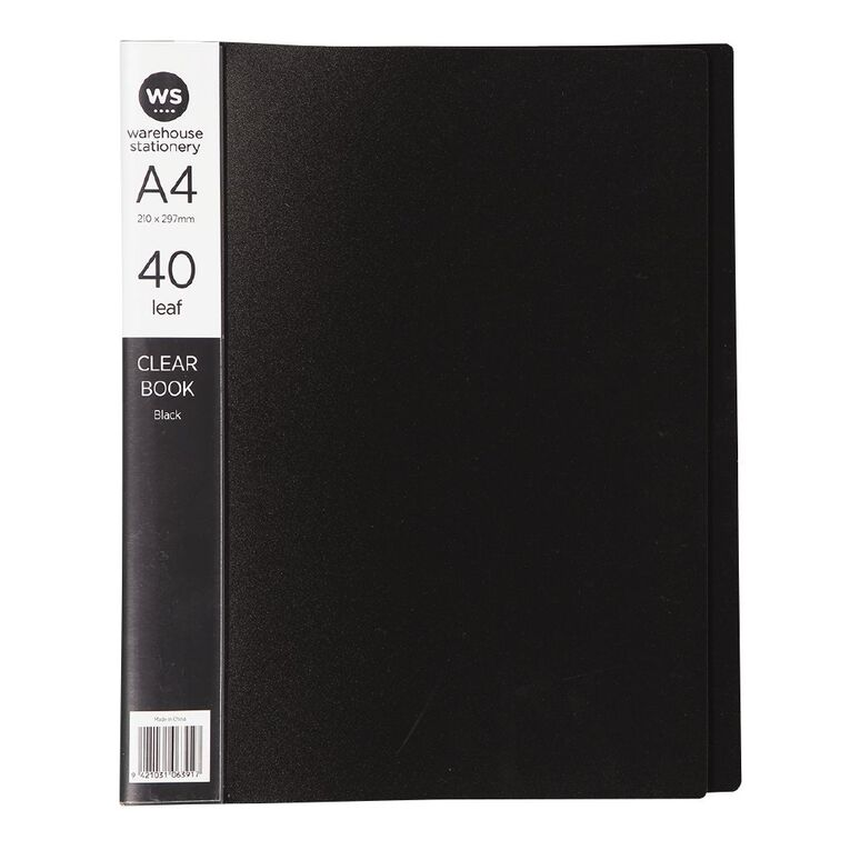 WS Clear Book 40 Leaf Black A4, , hi-res