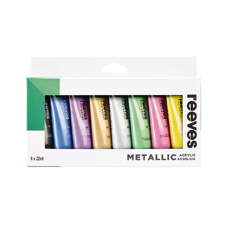 Reeves Acrylic Set 22ml Metallic 8 Pack, , hi-res