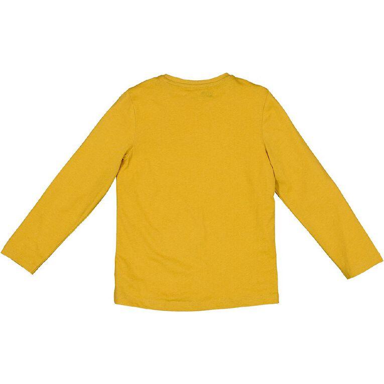 Young Original Long Sleeve Print Tee, Yellow Dark, hi-res