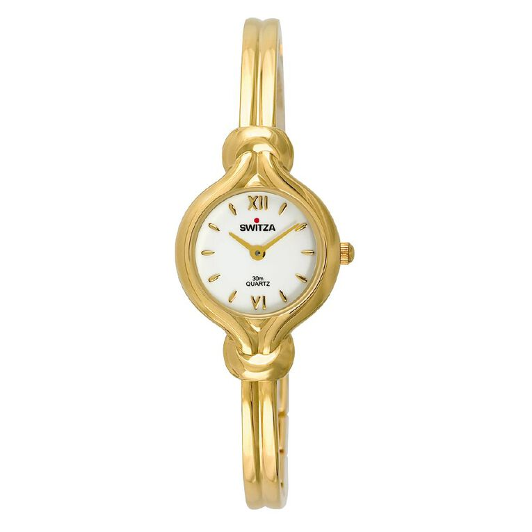 Switza Ladies' IPG Gold Bangle Watch with White Dial, , hi-res