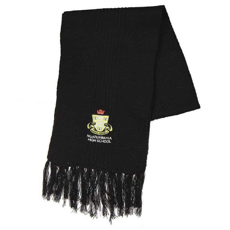 Schooltex Ngaruawahia Scarf with Embroidery, Black, hi-res