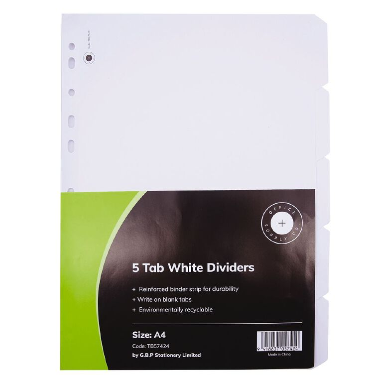 Office Supply Co 5 Tab Wide Dividers, , hi-res