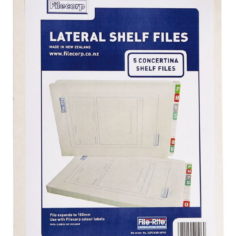 Filecorp 2016 Concertina Shelf File 5 Pack White, , hi-res