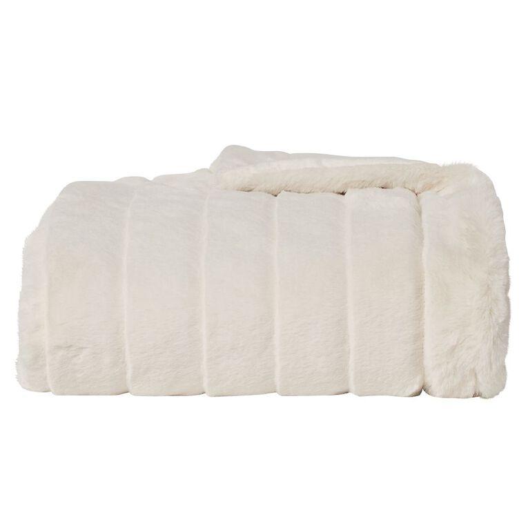 Living & Co Faux Fur Channel Throw Cream 120cm x 140cm, Cream, hi-res image number null