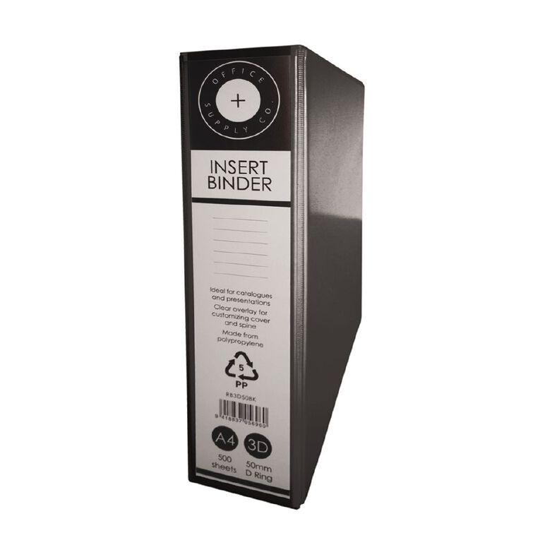 Office Supply Co 3D 50mm Ringbinder Black A4, , hi-res