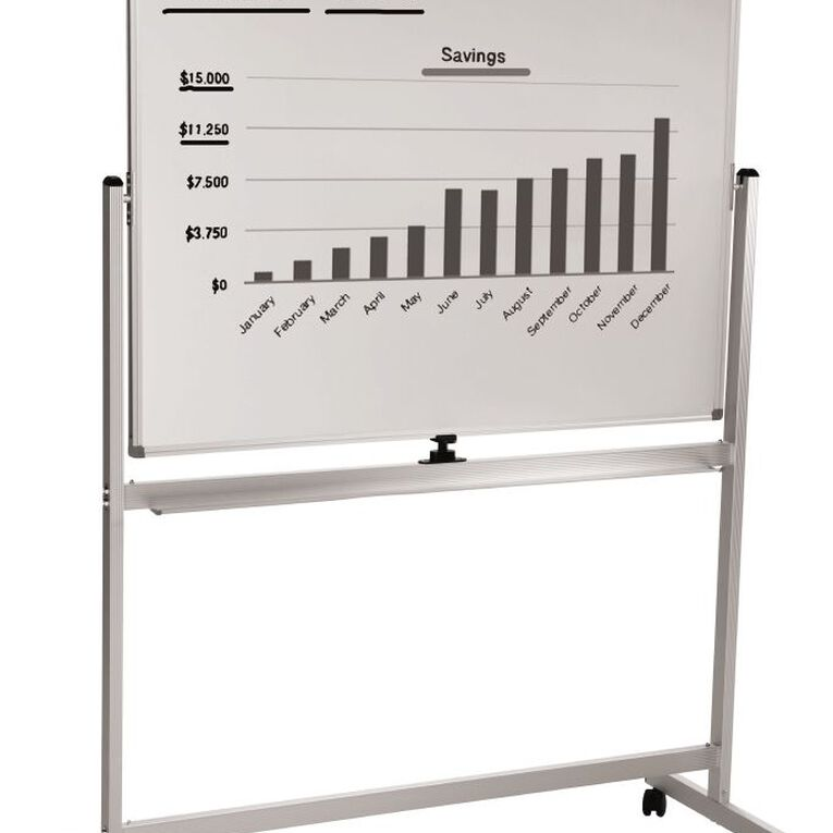 H+O Home & Office Mobile Whiteboard 1200 x 900mm White, , hi-res