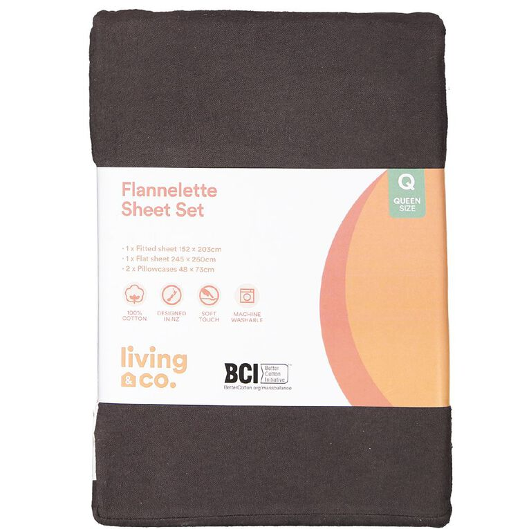 Living & Co Sheet Set Cotton Flannelette Charcoal Double, Charcoal, hi-res image number null