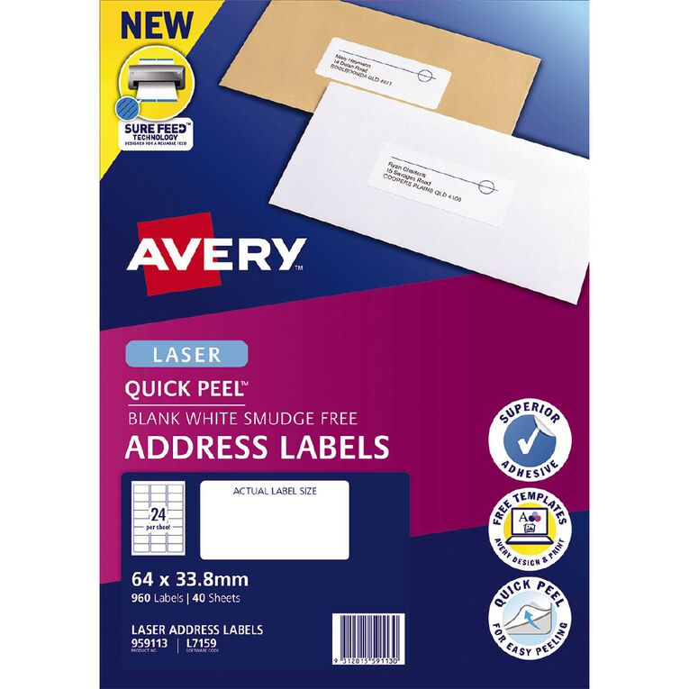 Avery Address Labels with Quick Peel White 960 Labels, , hi-res